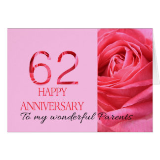 Happy 62nd Anniversary roses for parents Card