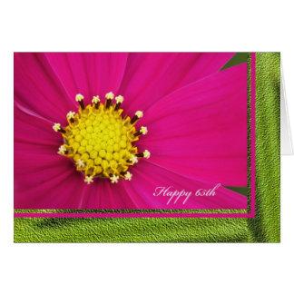 Happy 65th Birthday Greeting Card -- Pink Cosmos