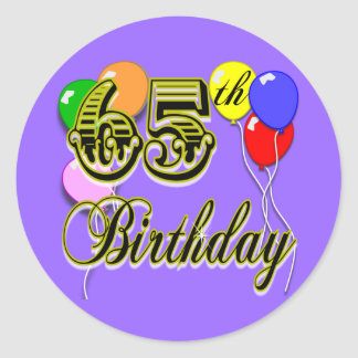 Happy 65th Birthday Merchandise Classic Round Sticker