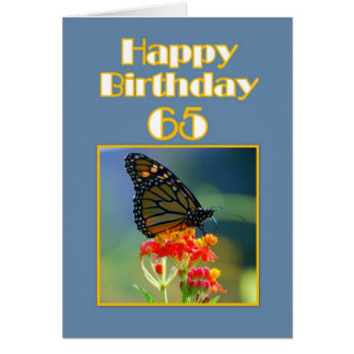 Happy 65th Birthday Monarch Butterfly Card