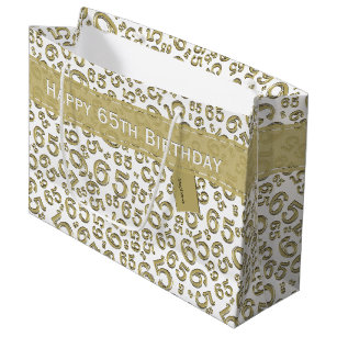 Happy 65th Birthday Party Theme Gold And White Large Gift Bag