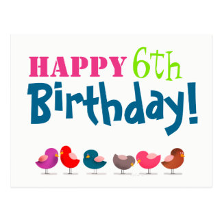 Happy 6th Birthday Birds Cartoon Cute Colorful Postcard