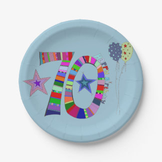 Happy 70th Birthday Colourful Balloons Paper Plate