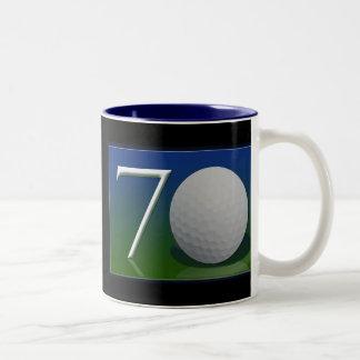 Happy 70th Birthday for golf nut Two-Tone Coffee Mug