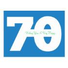 Happy 70th Birthday Milestone Postcards - in Blue