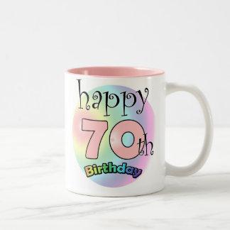 Happy 70th Birthday (pink) Two-Tone Coffee Mug