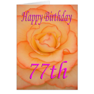 Happy 77th Birthday Flower Card