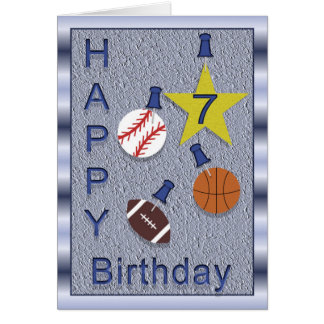 Happy 7th Birthday Sports Theme Card