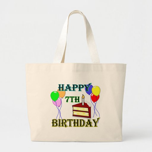 Happy 7th Birthday with Cake, Balloons and Candle Tote Bag