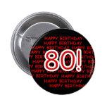Happy 80th Birthday 2 Inch Round Button
