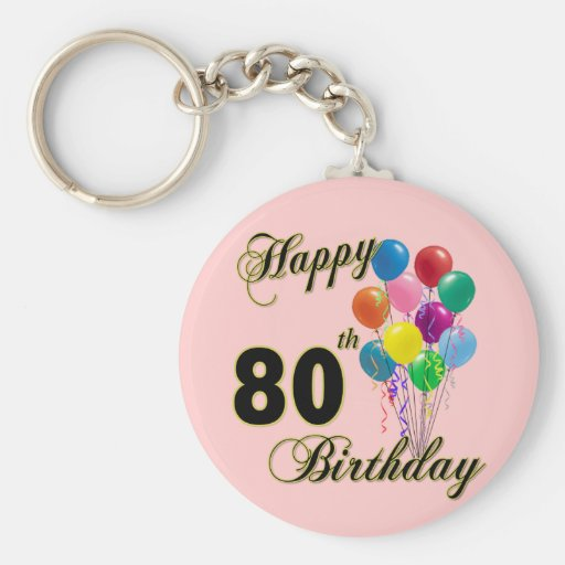 Happy 80th Birthday Gifts and Birthday Apparel Key Chains