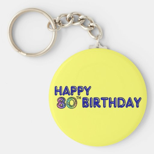 Happy 80th Birthday Gifts and Birthday Apparel Keychains
