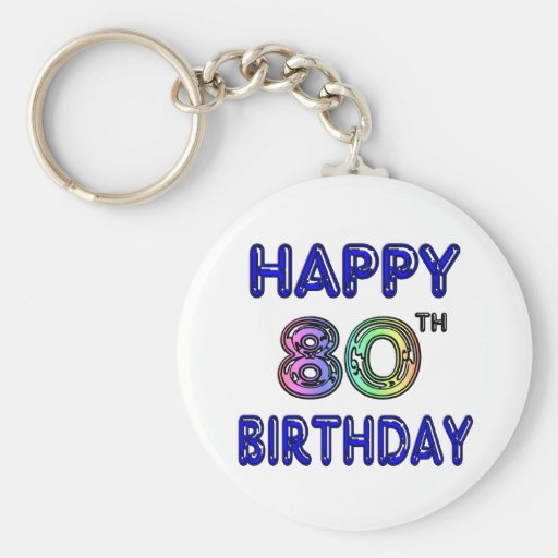 Happy 80th Birthday Gifts and Birthday Apparel Key Chain