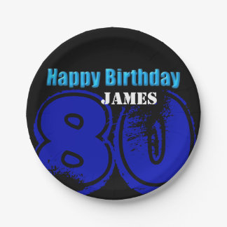 Happy 80th Birthday Personalized Paper Plates 7 Inch Paper Plate