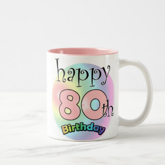 Happy 80th Birthday (pink) Two-Tone Coffee Mug