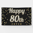 Happy 80th Bling Typography Gold Confetti Black Banner