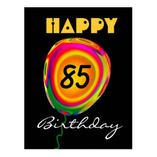 Happy 85 Birthday Colorful Gold Green Red Balloon Postcard