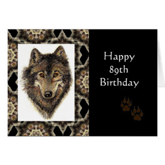 Happy 89th Birthday with Watercolor Wolf Card