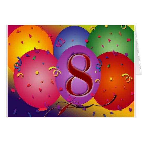 Happy 8th Birthday balloons! Card
