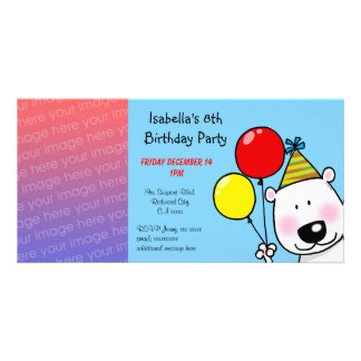 Happy 8th birthday party invitations photo card