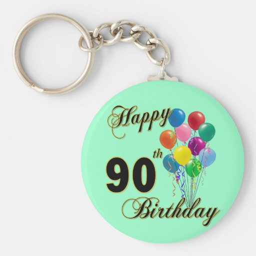 Happy 90th Birthday Gifts and Birthday Apparel Keychain