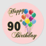 Happy 90th Birthday Gifts and Birthday Apparel Round Sticker