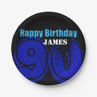 Happy 90th Birthday Personalized Paper Plates