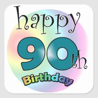Happy 90th Birthday Square Sticker