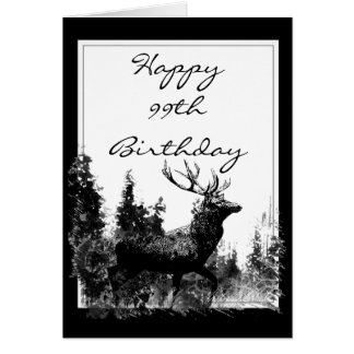 Happy 99th Birthday Custom Vintage Stag, Deer Card