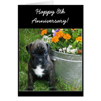 Happy 9th Anniversary boxer puppy greeting card