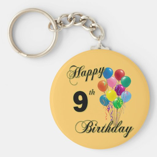 Happy 9th Birthday Gifts and Birthday Apparel Keychain