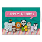 Happy 9th Birthday Girly Cute Smiling Animals Card