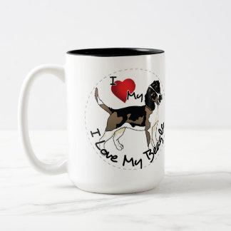 Happy Adorable & Funny Beadle Dog Two-Tone Coffee Mug