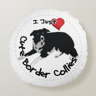 Happy Adorable & Funny Border Collie Dog Round Pillow