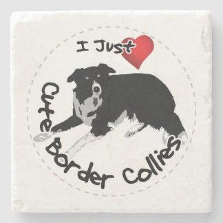Happy Adorable & Funny Border Collie Dog Stone Coaster