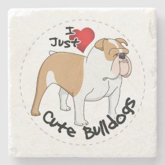 Happy Adorable & Funny Bulldog Dog Stone Coaster