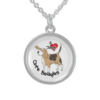 Happy Adorable Funny & Cute Beagle Dog Sterling Silver Necklace