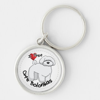 Happy Adorable Funny & Cute Bolonka Dog Silver-Colored Round Keychain