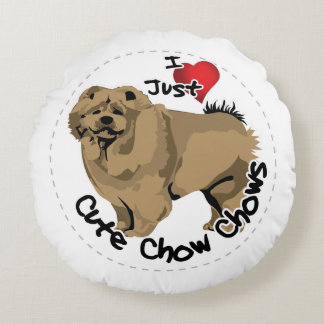 Happy Adorable Funny & Cute Chow Chow Dog Round Pillow