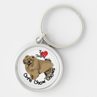 Happy Adorable Funny & Cute Chow Chow Dog Silver-Colored Round Keychain