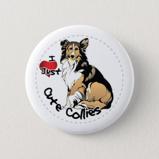 Happy Adorable Funny & Cute Collie Dog 2 Inch Round Button