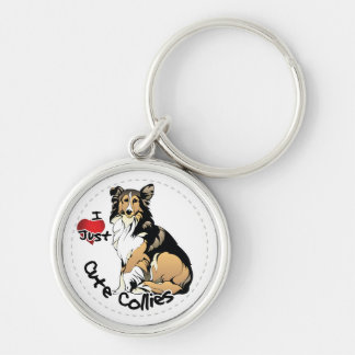 Happy Adorable Funny & Cute Collie Dog Silver-Colored Round Keychain