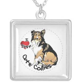 Happy Adorable Funny & Cute Collie Dog Silver Plated Necklace