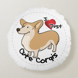 Happy Adorable Funny & Cute Corgi Dog Round Pillow