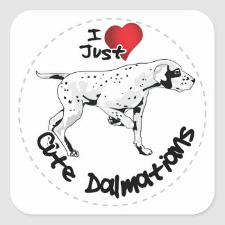 Happy Adorable Funny & Cute Dalmatian Dog Square Sticker