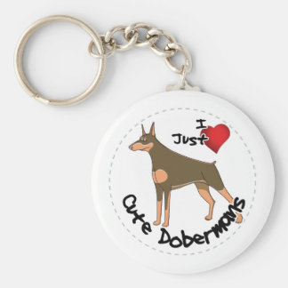 Happy Adorable Funny & Cute Doberman Dog Keychain