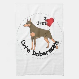 Happy Adorable Funny & Cute Doberman Dog Kitchen Towel