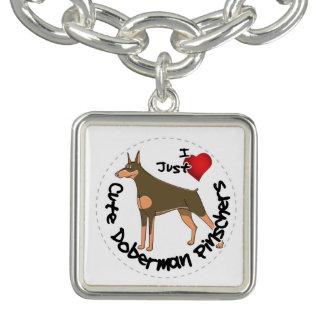 Happy Adorable Funny & Cute Doberman Pinscher Dog Charm Bracelets