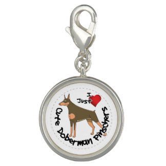 Happy Adorable Funny & Cute Doberman Pinscher Dog Charms