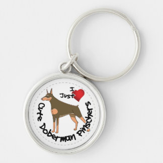 Happy Adorable Funny & Cute Doberman Pinscher Dog Keychain